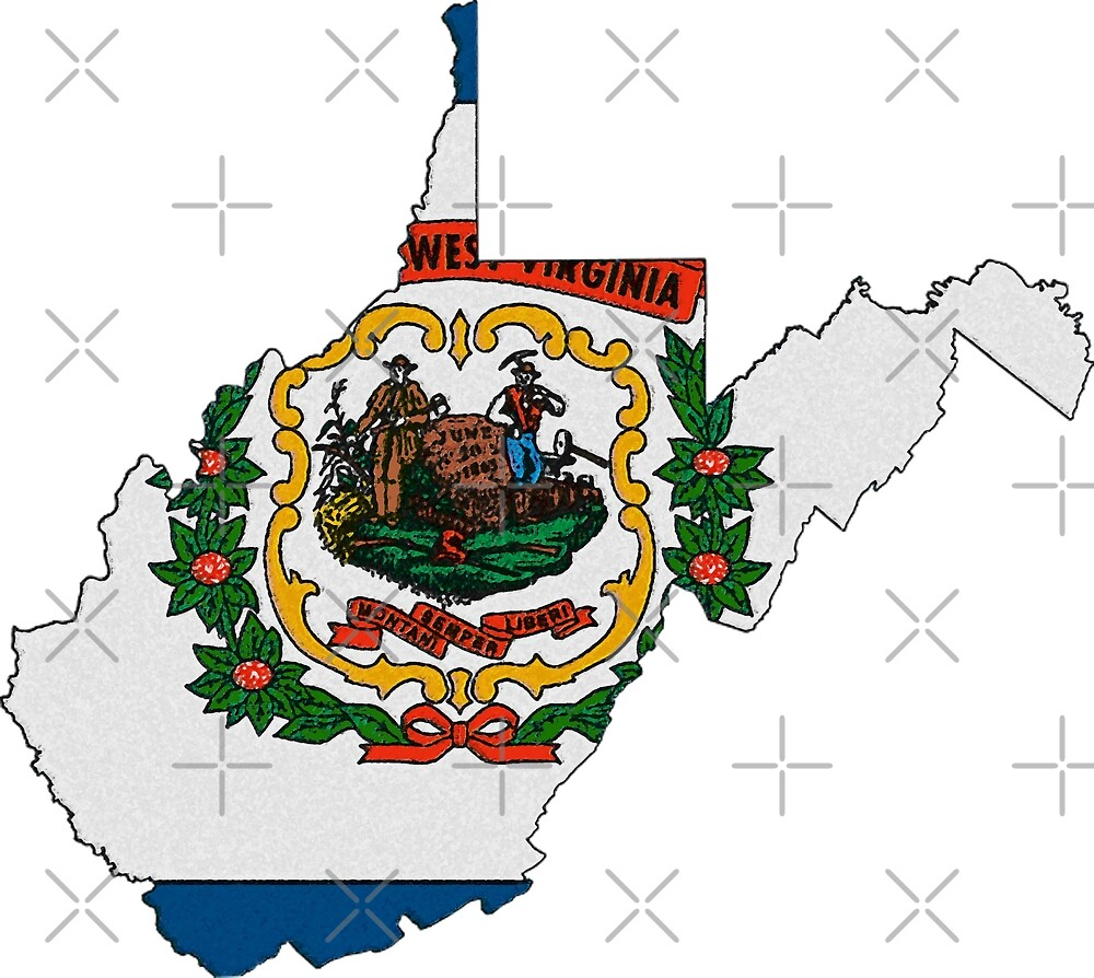 West Virginia Map With West Virginia State Flag by Havocgirl