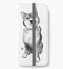 The perfect Shiba Ibu, Japanese Dog Sumi-e Painting Ink Zen Print Drawing Dog Lover Wall Deco Pet Brush illustration B&W iPhone Wallet/Case/Skin