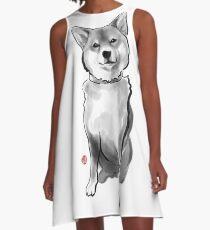 The perfect Shiba Ibu, Japanese Dog Sumi-e Painting Ink Zen Print Drawing Dog Lover Wall Deco Pet Brush illustration B&W A-Line Dress