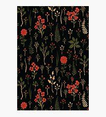 Green, Red-Orange, and Black Floral/Botanical Print Photographic Print