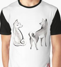 Two Shiba Inu card, Unique Sumi-e Painting, Japanese Cute dog Couple breed Ink Animal Illustration B&W Asia Zen Birthday Poster Graphic T-Shirt