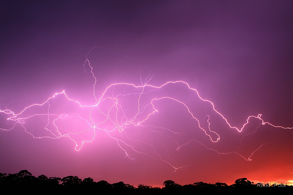 Sunrise lightning Storm by Rikki  Pool