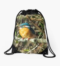 Female Kingfisher enjoying the Sun Drawstring Bag