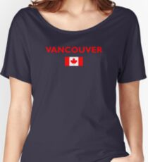 Vancouver Canada Canadian Flag Color Dark Women's Relaxed Fit T-Shirt