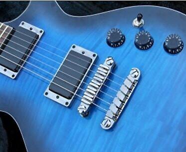 Guitar T-shirt Blue by Darryl Green