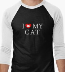 I Heart My Cat Men's Baseball ¾ T-Shirt
