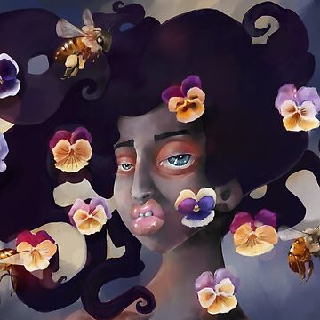 Look Aside - Woman with bees pansy flowers and orchid mantis by Ela Steel by elasteel