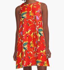 Red Petals A-Line Dress