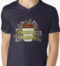 Life Without Coffee is Scary Floral Coffee Lover Men's V-Neck T-Shirt