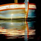 Abstract Reflections, Sunset on Boat Bow by Barbara  Brown
