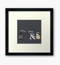 Robot vs Droid Battle Framed Print