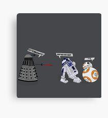 Robot vs Droid Battle Canvas Print