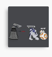 Robot vs Droid Battle Canvas Print