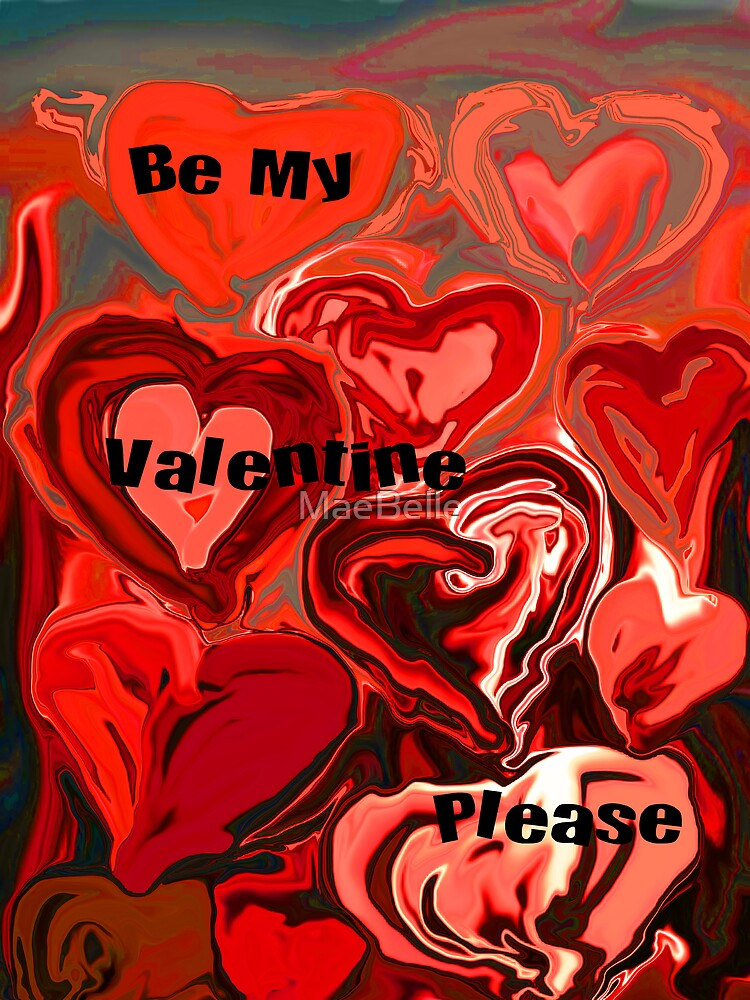 Red Hearts,Valentine Card by MaeBelle
