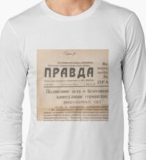 "Газета ""Правда"" The Newspaper ""Pravda"" #text #paper #newspaper #document #page #print #article #yellow #information #medium #data #themedia #media #Газета #Правда #Pravda #old #historical #important Long Sleeve T-Shirt"