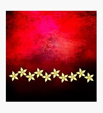 Gold flowers on bold red and black grunge texture Photographic Print