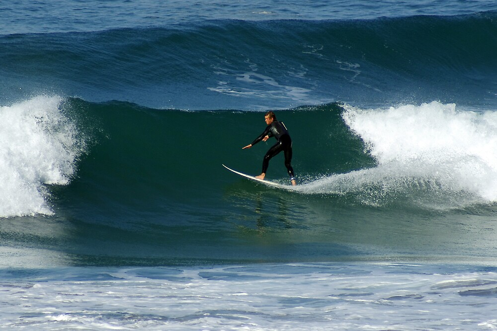 Surfer Trebarwith Strand by David Wilkins