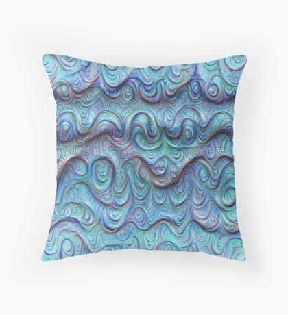Frozen sea liquid lines and waves #DeepDream Throw Pillow