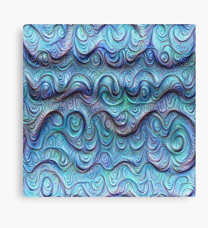 Frozen sea liquid lines and waves #DeepDream Canvas Print