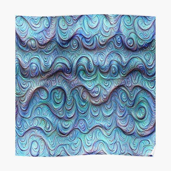 Frozen sea liquid lines and waves #DeepDream Poster