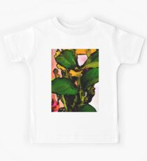 Green Leaves and Yellow Flowers with a Pink Wall Kids Tee