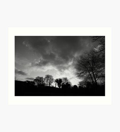black and white sunrise Art Print
