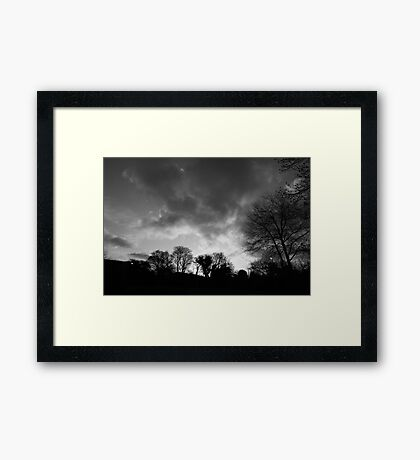 black and white sunrise Framed Print