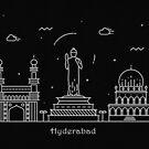 Hyderabad Skyline Minimal Line Art Poster by A Deniz Akerman