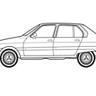 Citroen Visa 2 Outline Drawing by RJWautographics