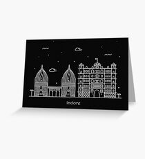 Indore Skyline Minimal Line Art Poster Greeting Card