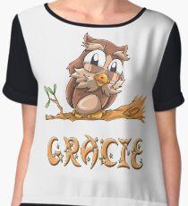 Gracie Owl Chiffon Top
