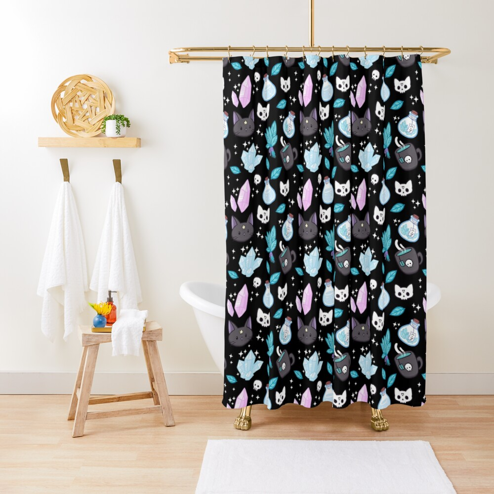 Herb Witch // Black Shower Curtain