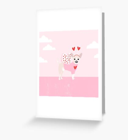 Chihuahua white love hearts valentines day cute gifts for chiwawa lovers pet must haves Greeting Card