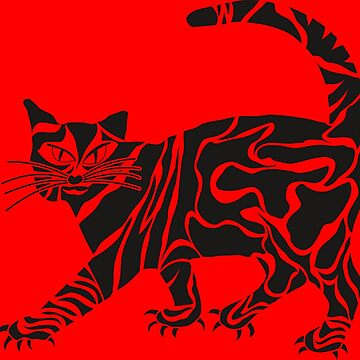 Tribal Cat red by LaFranceDesigns