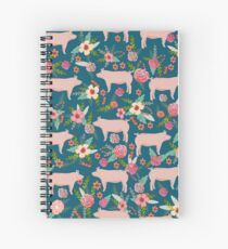 Pig florals farm homesteader pigs cute farms animals floral gifts Spiral Notebook