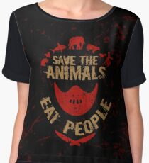 save the animals, EAT PEOPLE Chiffon Top