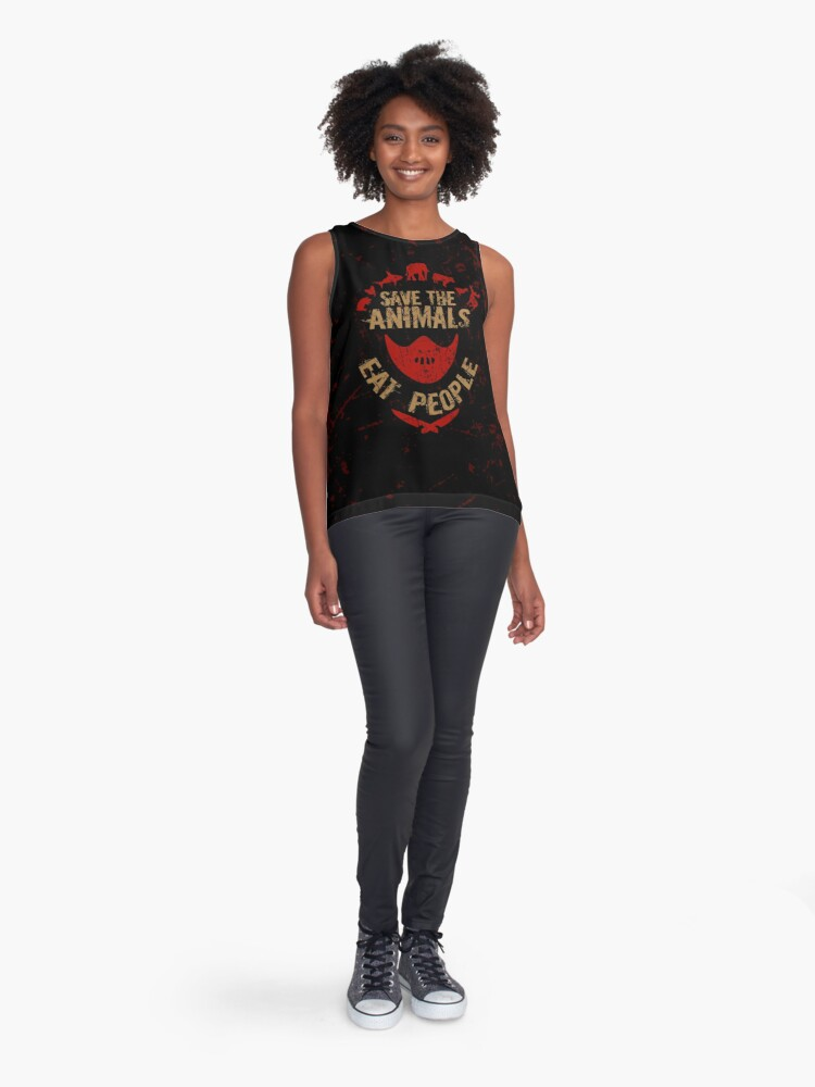 Alternate view of save the animals, EAT PEOPLE Sleeveless Top