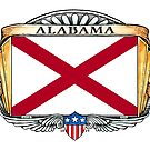Alabama Art Deco Design with Flag by Cleave
