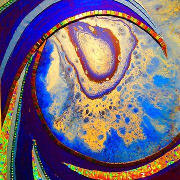 Blue Mosaic Wave Print by RainBowEscence