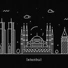 Istanbul Skyline Minimal Line Art Poster by A Deniz Akerman