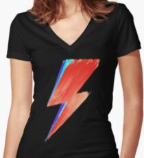 David Bowie Lightning Women's Fitted V-Neck T-Shirt