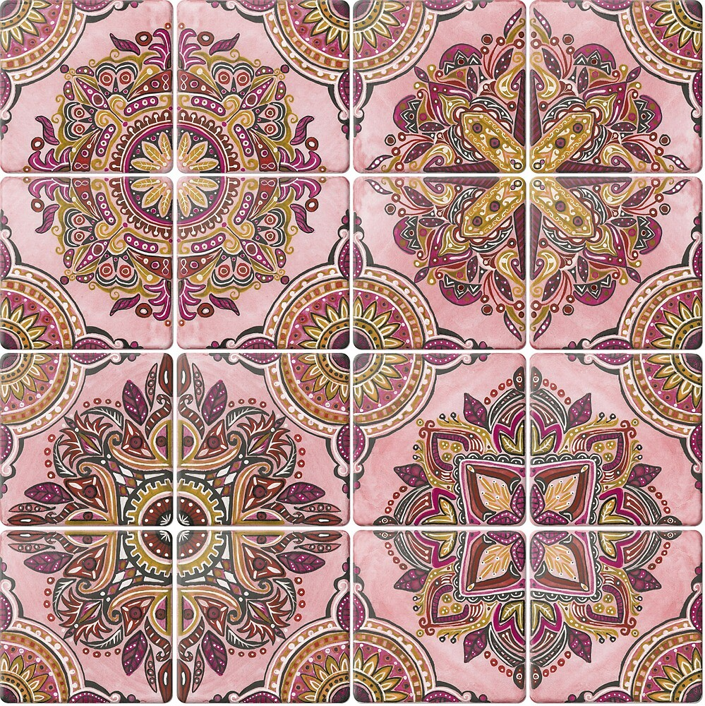 Spanish Tiles in Rose & Gold by artfullyminded