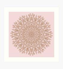 Rose Gold Beige Mandala Art Print