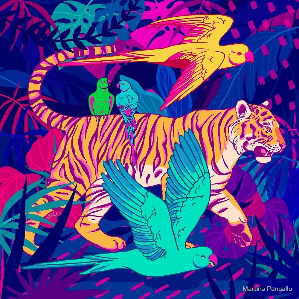 Tiger and parakeet by Martina Pangallo