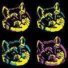 Internet Pop Art Cat the Four Kittens by electrovista
