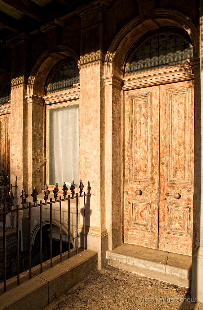 Daylesford Doorway morning light. by Victor Pugatschew