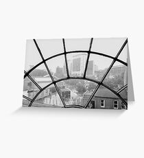 city view through arched window Greeting Card