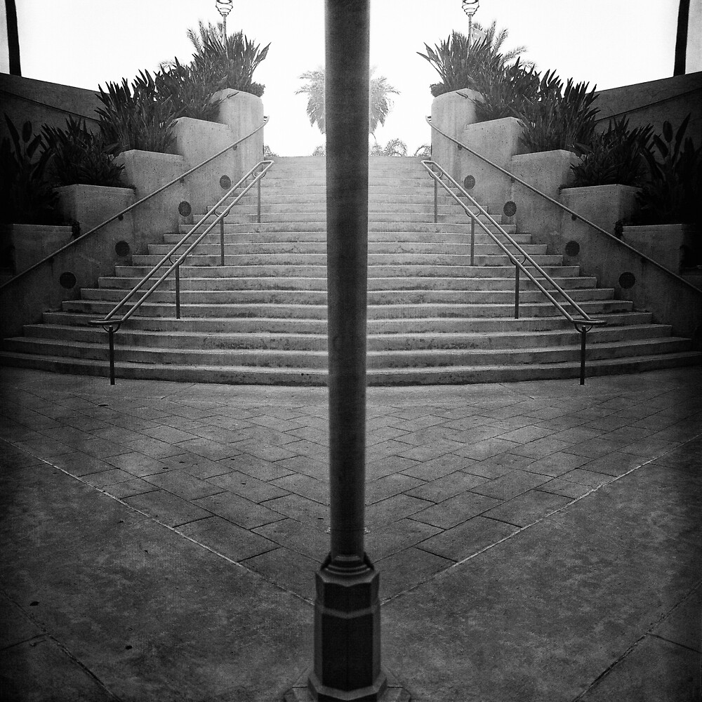 Arch Steps and Light Pole from Parking Structure by YoPedro