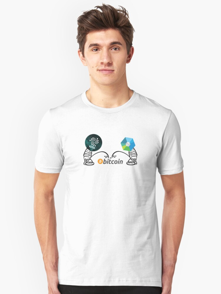 IOTA and XRB piss on Bitcoin Unisex T-Shirt Front