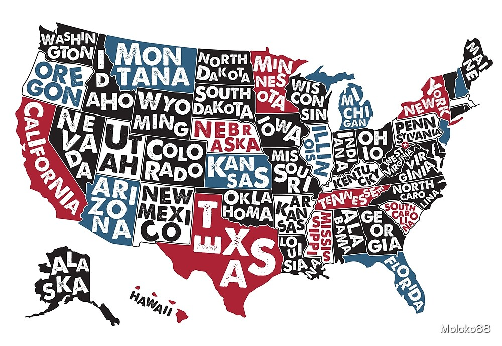 Poster map of United States of America with state names.\